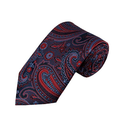 DL-46 | Red / Steel Blue On Dark Navy Multi-Floral Paisley X-Long Woven Necktie