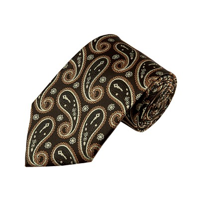 DL-47 | Brown, Beige and Copper Medium Floral Paisley X-Long Woven Necktie