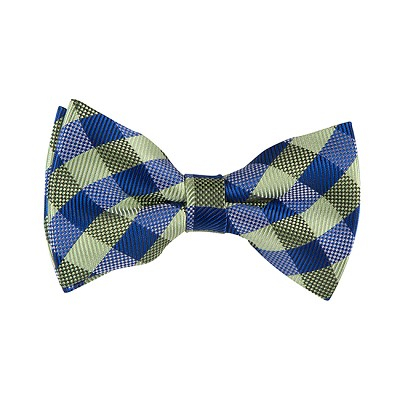 BL-13 | Royal Blue and Pear Green Basket Plaid Woven Pre-Tied Bow Tie