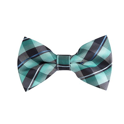 BL-14 | Multi Aqua Blue, Green, Black and Silver Plaid Woven Pre-Tied Bow Tie