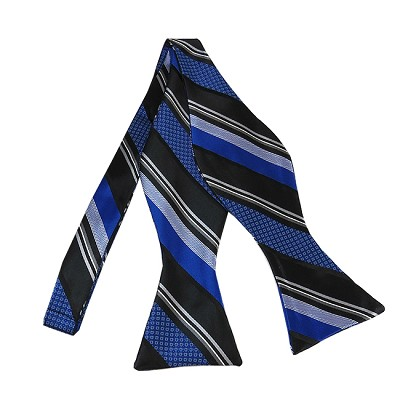 BLS-30 | Royal Blue and Black Multi-Patterned Stripe Woven Self Tie Bow Tie