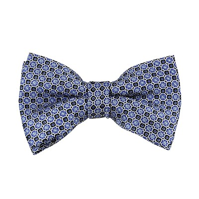 BL-29 | Light Blue and Black Geometric Dots Woven Pre-Tied Bow Tie