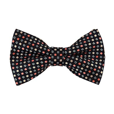BL-34 | Palm Coral / Peach and Light Steel Blue Dots Geometric Woven Pre-Tied Bow Tie