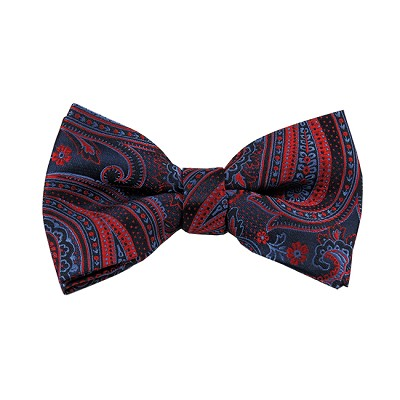 BL-46 | Red / Steel Blue On Dark Navy Multi-Floral Paisley Woven Pre-Tied Bow Tie