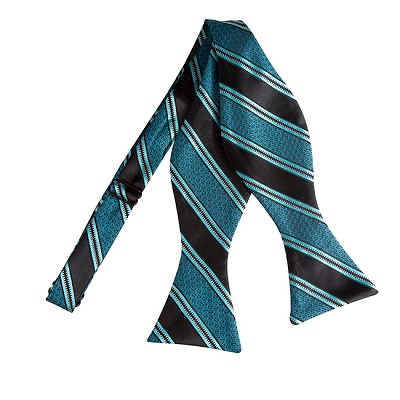 BLS-02 | Oasis Blue and Black Swirls and Striped Woven Self Tie Bow Ties