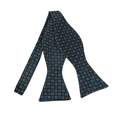 BLS-40 | Teal Green and Silver Multi Small Dotted Woven Self Tie Bow Tie