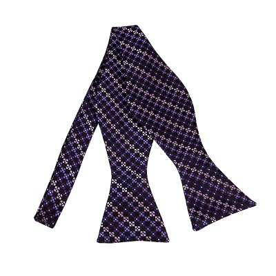BLS-41 | Multi-Shade Purple w. Black Cross Box Pattern Woven Self Tie Bow Tie