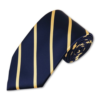 M-02 | Narrow Honey Gold Stripes on Navy Woven Necktie