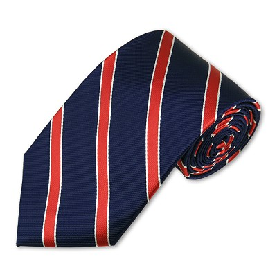 M-03 | Red and White Stripes on Navy Woven Necktie