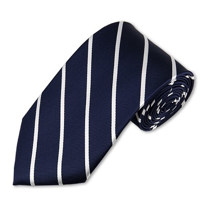 M-06 | Narrow White Stripes on Navy Woven Necktie