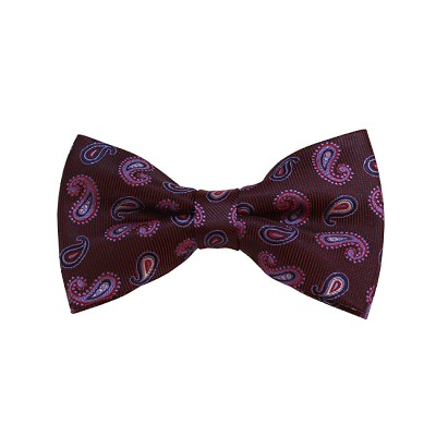BD-03 | Steel Blue, Cream, Red and Black Paisley Woven Pre-Tied Bow Tie