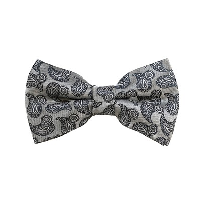 BD-05 | Silver and Grey Paisley Woven Pre-Tied Bow Tie