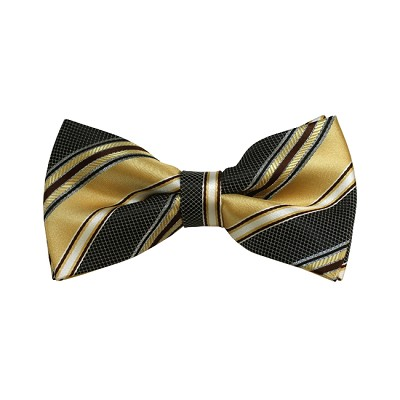 BD-13 | Honey Gold, Black And Light Brown Striped Woven Pre-Tied Bow Tie