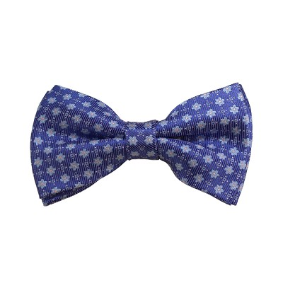 BD-18 | Sky Blue W/ Pink Dot And Steel Blue Floral Woven Pre-Tied Bow Tie