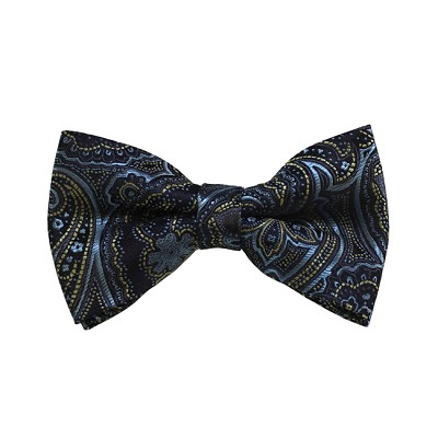 BD-22 | Steel Blue, Gold And Navy Paisley Woven Pre-Tied Bow Tie