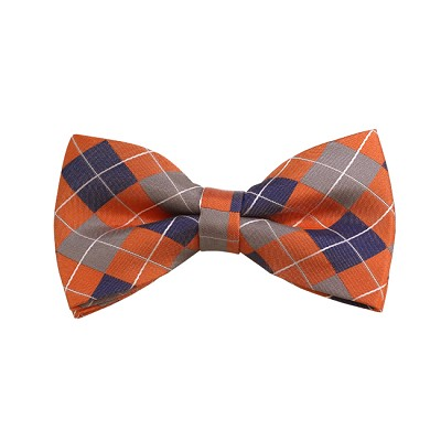 BD-28 | Silver, Blue-Grey And Peach Checkered Woven Pre-Tied Bow Tie