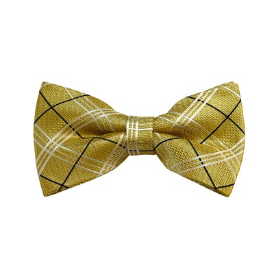 BD-29 | Black, White And Honey Gold Plaid Woven Pre-Tied Bow Tie