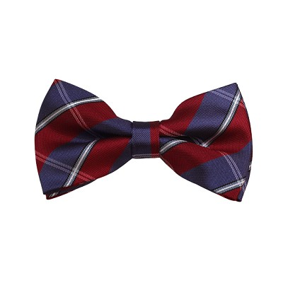 BD-30 | Silver, Blue-Grey And Red Plaid Woven Pre-Tied Bow Tie
