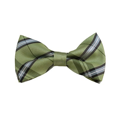 BD-34 | Light Green, Silver And Sage Plaid Woven Pre-Tied Bow Tie