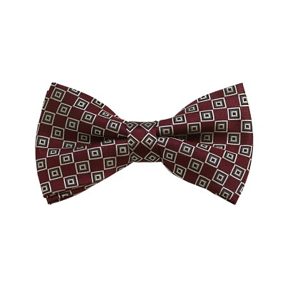 BD-37 | Silver, White And Maroon Geometric Woven Pre-Tied Bow Tie
