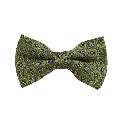 BD-40 | Green And Olive Floral Woven Pre-Tied Bow Tie