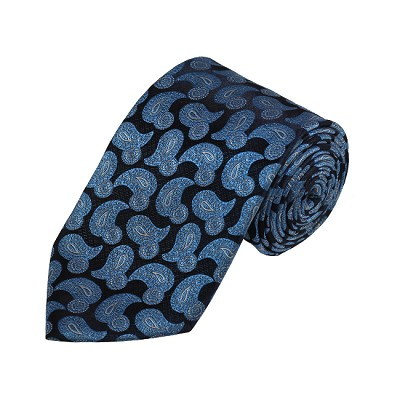 D-04 | Light Blue, White And Navy Paisley Woven Necktie