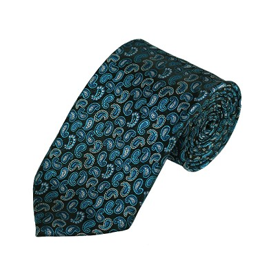 D-06 | Turquoise, Oasis And Peacock Blue Paisley Woven Necktie