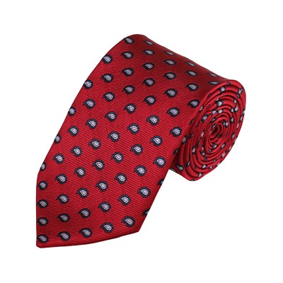 D-07 | Grey, Black And Crimson Red Paisley Woven Necktie