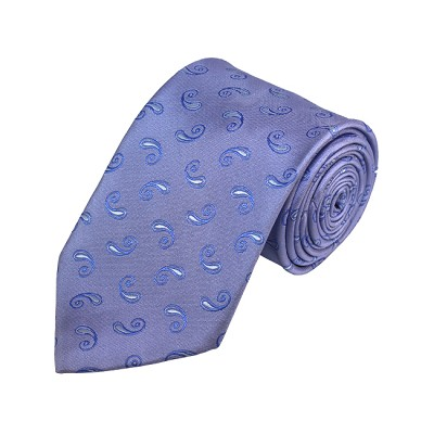 D-08 | White, Steel Blue and Blue-Grey Paisley Woven Necktie