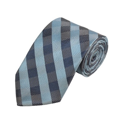 D-12 | Sky Blue, Grey And Blue-Grey Checkered Woven Necktie