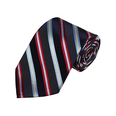 D-15 | Red, Grey And Navy Striped Woven Necktie