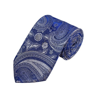 D-20 | Silver, Grey And Blue Paisley Woven Necktie