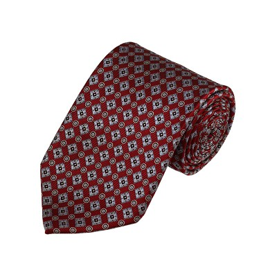 D-27 | Grey and Red Geometric Woven Necktie