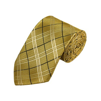 D-29 | Black, White And Honey Gold Plaid Woven Necktie