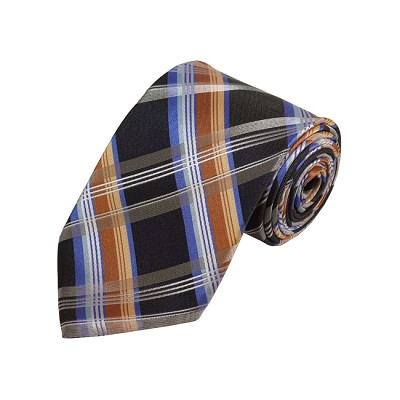 D-31 | Silver, Grey And Gold Plaid Woven Necktie