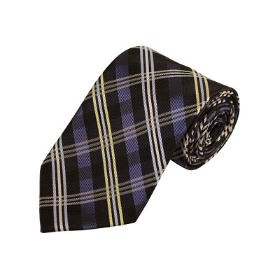 D-33 | Silver, Blue-Gray And Black Plaid Woven Necktie