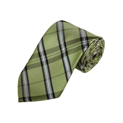 D-34 | Light Green, Silver And Sage Plaid Woven Necktie