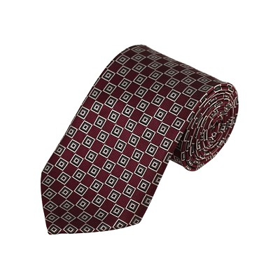 D-37 | Silver, White And Maroon Geometric Woven Necktie