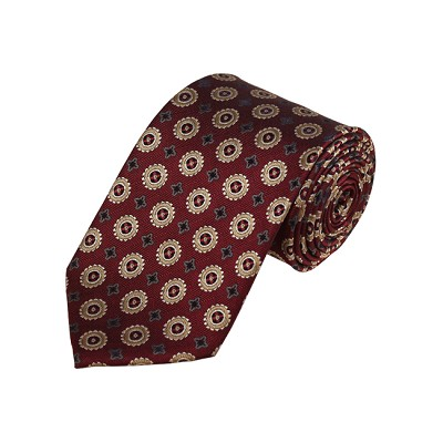 D-39 | Gold, Grey And Maroon Floral Woven Necktie
