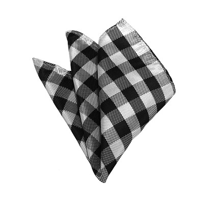 HD-10 | Black, White And Silver Checkered Woven Handkerchief