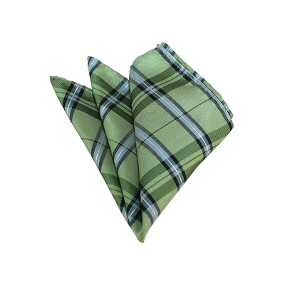 HD-34 | Light Green, Silver And Sage Plaid Woven Handkerchief