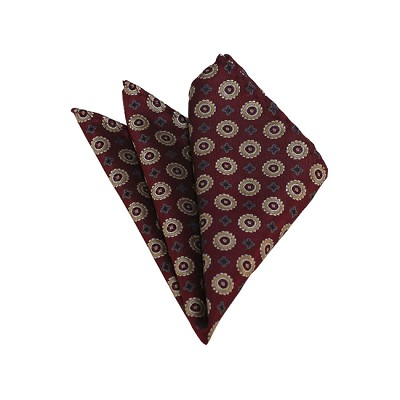HD-39 | Gold, Grey And Maroon Floral Woven Handkerchief