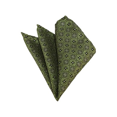 HD-40 | Green And Olive Floral Woven Handkerchief