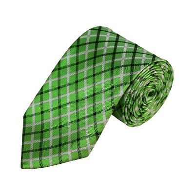N-03 | Light Green, White and Black Plaid Woven Necktie