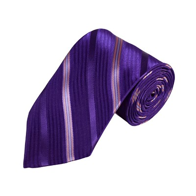 N-07 | Dark Purple, Pink and Steel Blue Striped Woven Necktie