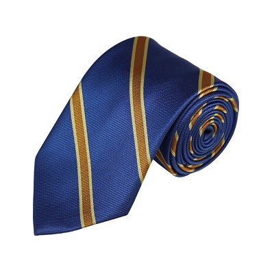 N-10 | Jade Blue, Gold and Light Yellow Striped Woven Necktie