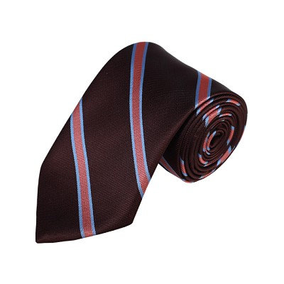 N-11 | Brown, Rose Pink and Blue Striped Woven Necktie