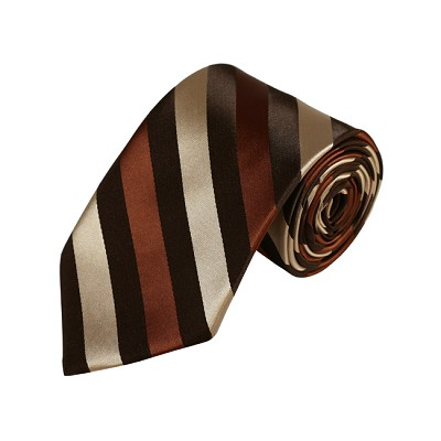 N-16 | Brown, Tan and Cinnamon Striped Woven Necktie