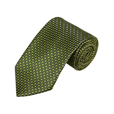 N-19 | Olive, Green and Grey Geometric Woven Necktie