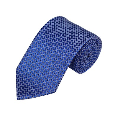 N-22 | Blue w /White Rounded Squares Woven Necktie